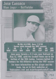 1998 Pacific Online Printing Plate Back 1/1