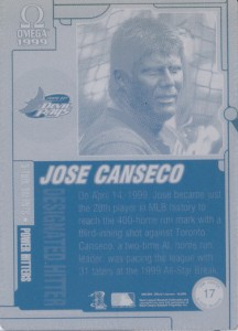 1999 Pacific Omega 5-Tool Talents printing plate back 1/1