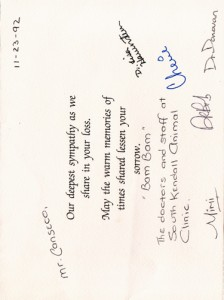 1992 Condolences Card