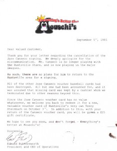 1985 Mouschi's Grocery Store Letter Custom