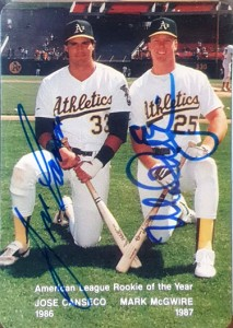 1988 MOTHER'S COOKIES W/MCGWIRE  Dual Autograph