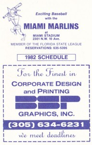 1982 Miami Marlins Pocket Schedule