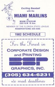 1982 Miami Marlins Pocket Schedule