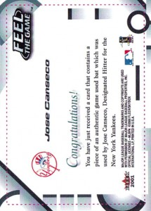 2001 Fleer Feel the Game Prototype Paper Proof Back 1/1