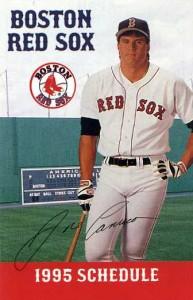 1995 Red Sox Pocket Schedule Red Dog Back