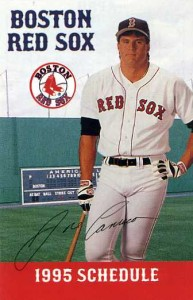 1995 Red Sox Pocket Schedule Jimmy Fund Back