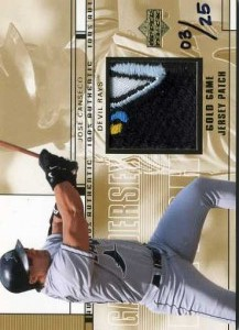 2001 Upper Deck Game Jersey Patch Gold /25