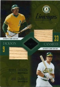 2003 Leaf Limited Lineups with Reggie Jackson double Bat /50