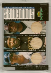 2001 Upper Deck MVP Game Souvenirs Trios w/Griffey and Bonds 15/25