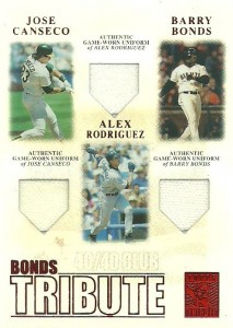 2003 Topps Tribute Contemporary Bonds Tribute 40-40 Club Relics Red /50
