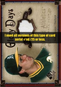 2005 SP Legendary Cuts Glory Days (need all #/25 and less)
