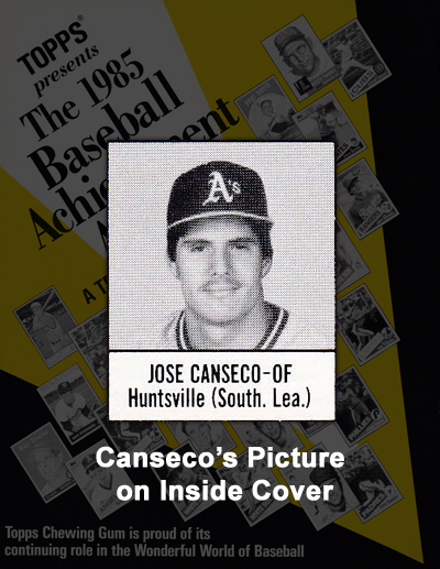 1985 Topps Baseball Achievement Awards Program